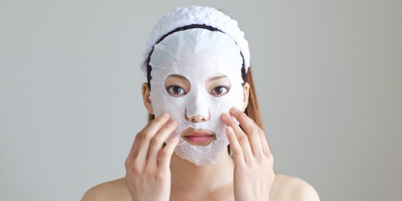 woman with a face mask on